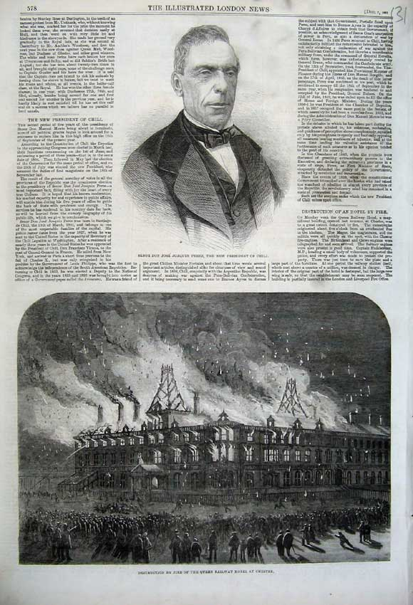 Print 1861 President Chili Perez Fire Queen Railway Hotel 131N112 Old Original