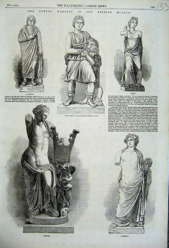 Print 1861 Marble Statue Apollo Diana Priest Bacchus Nymph 133N112 Old Original