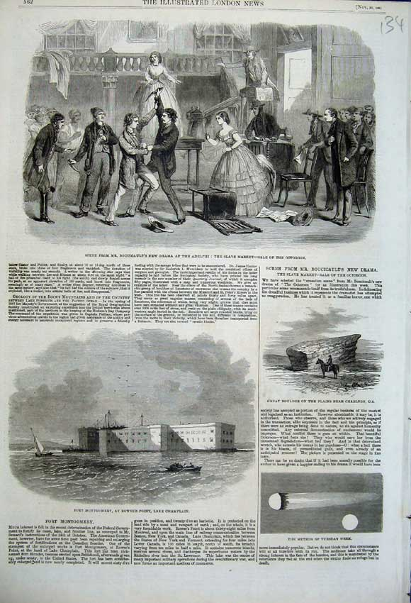 Print 1861 Fort Montgomery Adelphi Theatre Meteor Charlton 134N112 Old Original