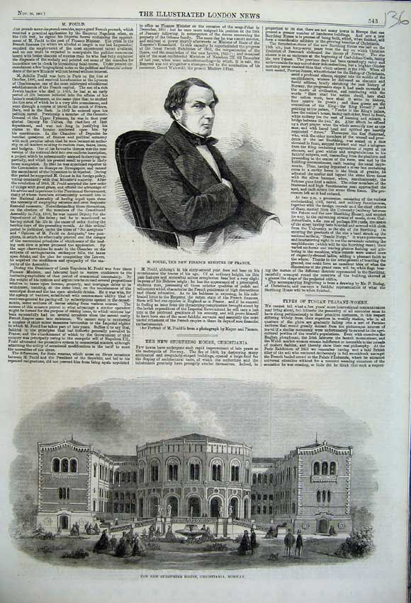 Print 1861 Storthing House Norway Fould Finance France Man 136N112 Old Original