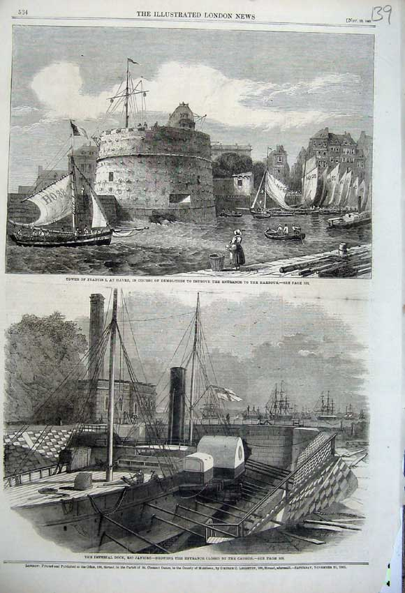 Print 1861 Tower France Havre Harbour Dock Rio Janeiro Ship 139N112 Old Original