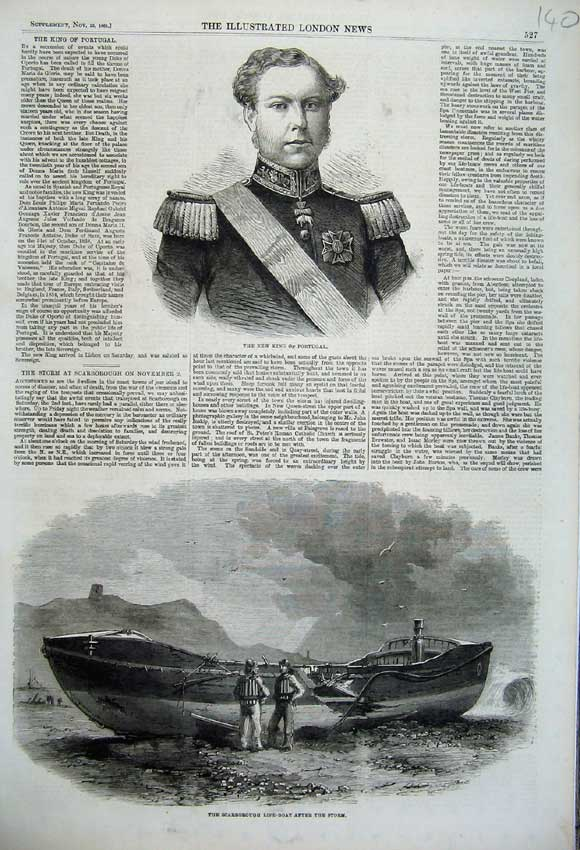 Print King Portugal Scarborough Life-Boat Wreck Storm 1861 140N112 Old Original