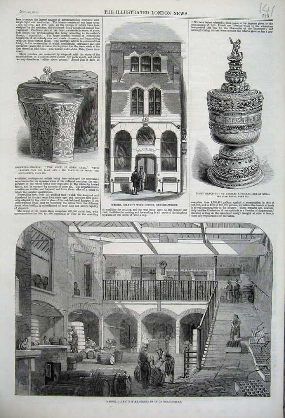 Print 1861 Gilbey Wine Stores Office Drinking Vessels Ivory 141N112 Old Original