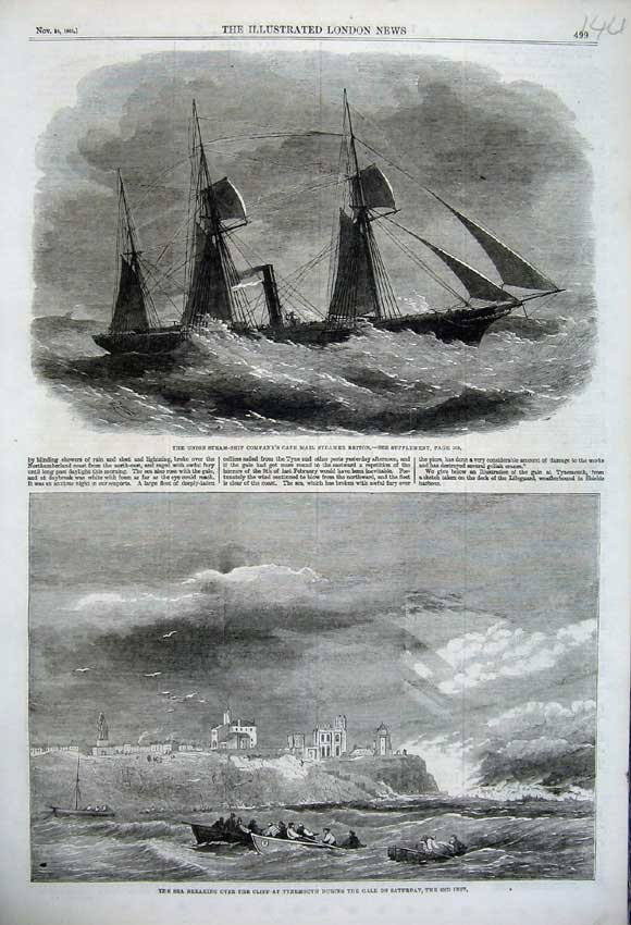 Print 1861 Steam-Ship Briton Sea Cliff Tynemouth Storm Sail 144N112 Old Original