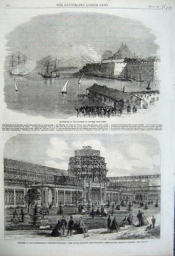 Print 1861 Empress Austria Corfu Exhibition Building Gardens 146N112 Old Original