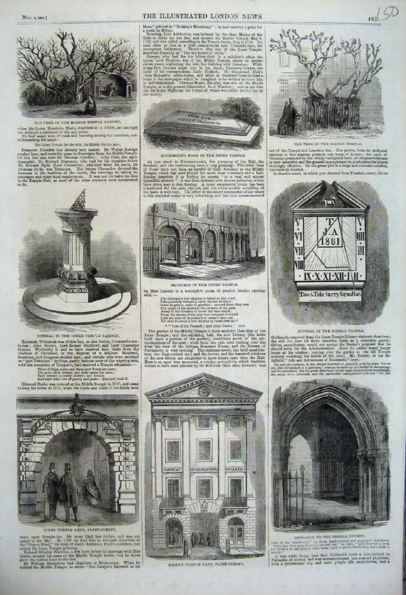 Print Temple Gate Church 1861 Sundial Goldsmith Tomb Garden 150N112 Old Original