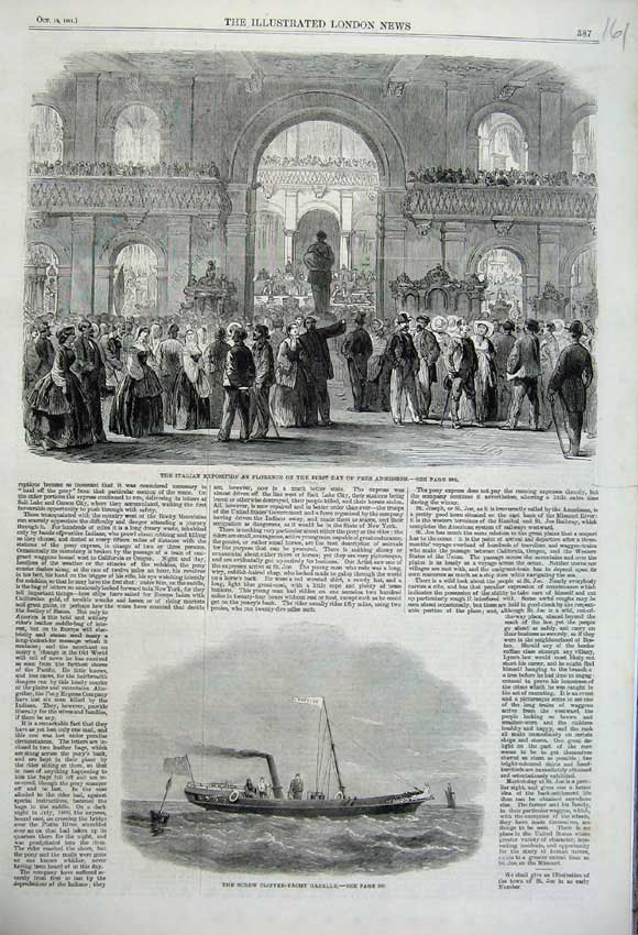 Print Screw Clipper Gazelle 1861 Italian Exposition Florence 161N112 Old Original