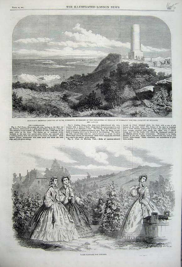 Print Paris Fashion Dress 1861 Monument Dives Normandy France 165N112 Old Original