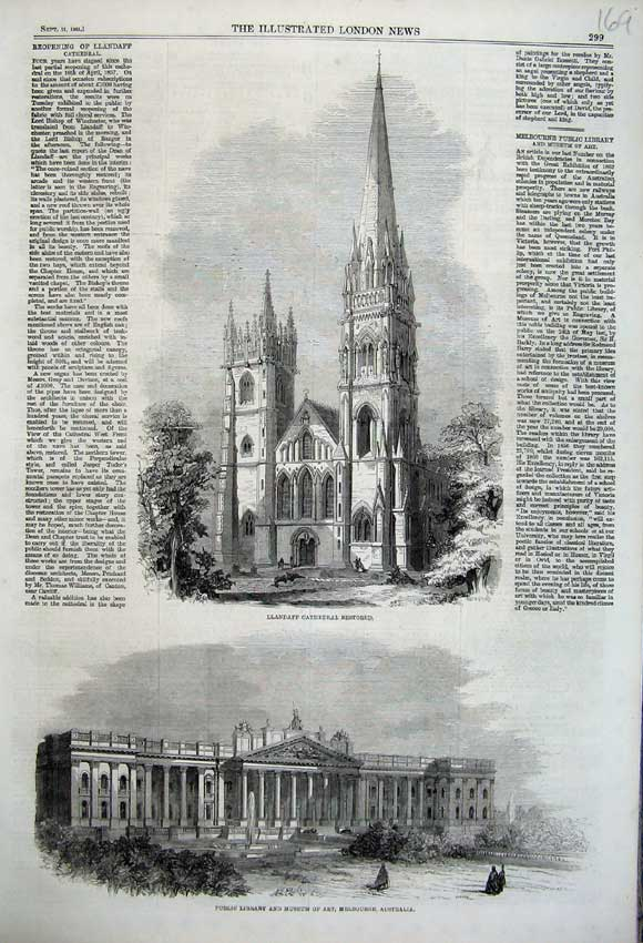 Print 1861 Public Library Museum Australia Llandaff Cathedral 169N112 Old Original
