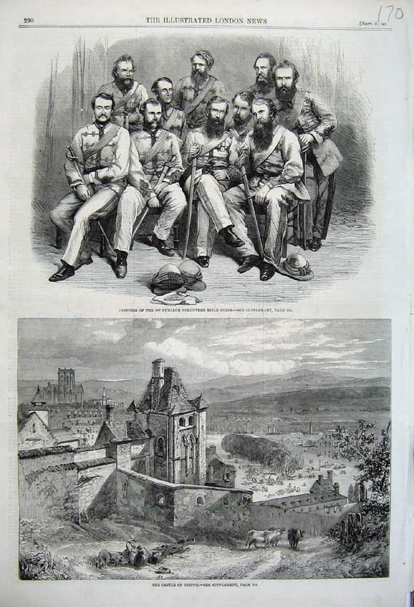 Print 1861 Castle Dieppe Officers Punjaub Rifle Corps Men War 170N112 Old Original