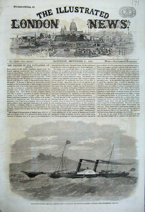 Print 1861 Railway Folkestone Boulogne Packet Victoria Ship 171N112 Old Original