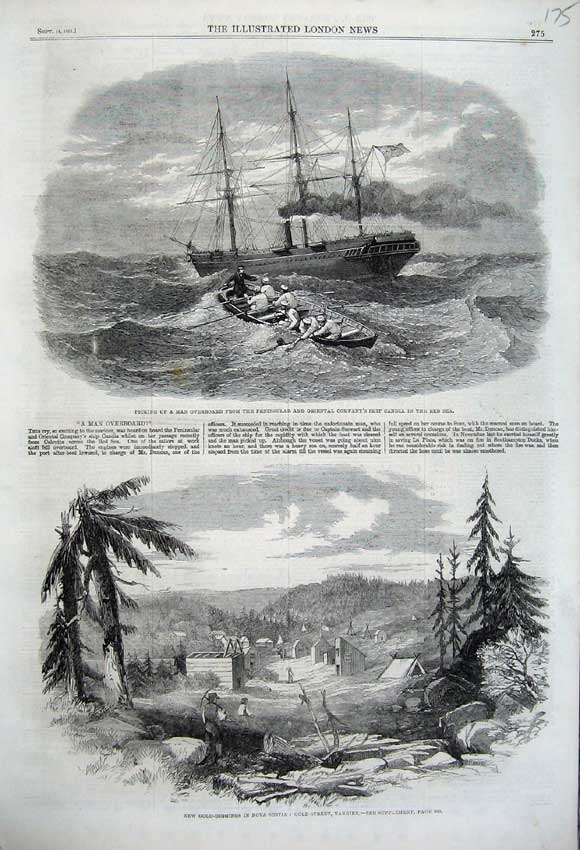 Print 1861 GDigging Nova Scotia Peninsular Ship Candia 175N112 Old Original