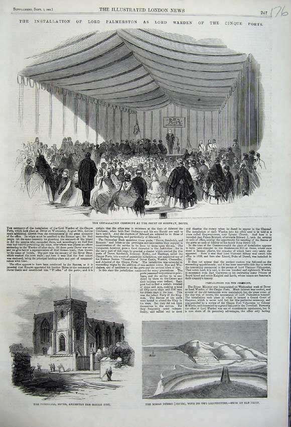 Print 1861 Roman Dubris Dover Townhall Ceremony Shepway 176N112 Old Original