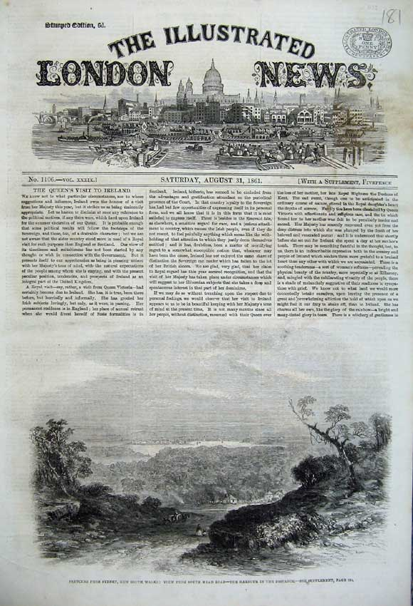 Print 1861 Sydney South Wales Australia View Harbour Town 181N112 Old Original