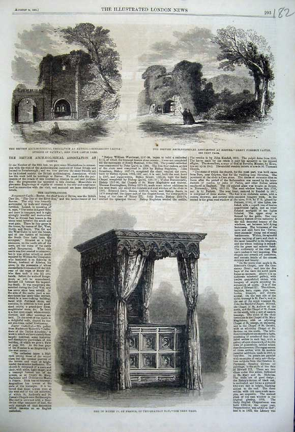 Print Bed Henry France Chateau Pau 1861 Castle Exeter Berry 182N112 Old Original