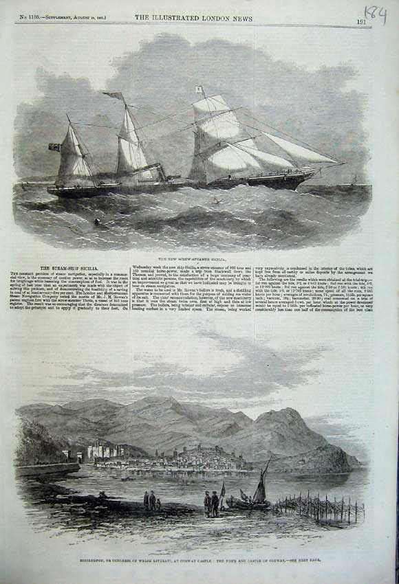 Print 1861 Screw-Steamer Sicillia Conway Castle Congress 184N112 Old Original