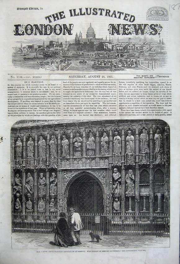 Print *0150 1861 West Screen Exeter Cathedral Archaeological 187N112 Old Original