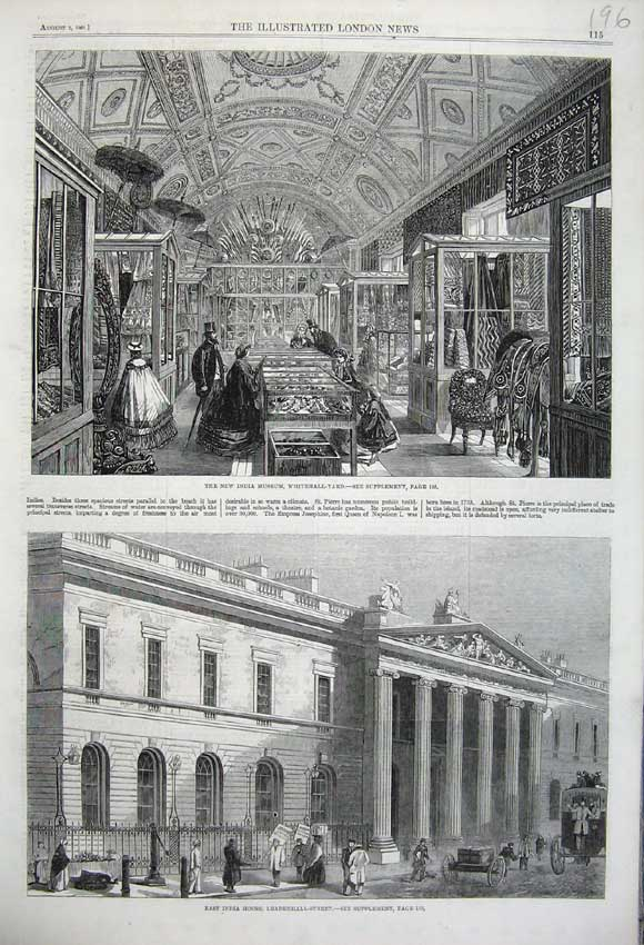 Print 1861 India Museum Whitehall-Yard House Leadenhall 196N112 Old Original