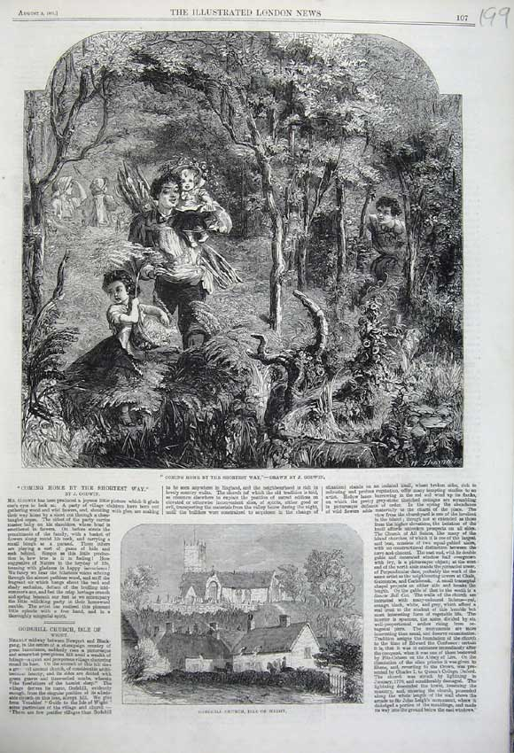 Print 1861 Godshill Church Isle Wight Family Country Woods 199N112 Old Original