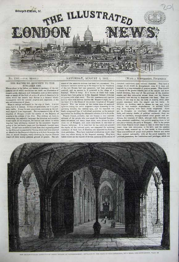 Print Cathedral Nave 1861 Archaeological Society Peterborough 201N112 Old Original