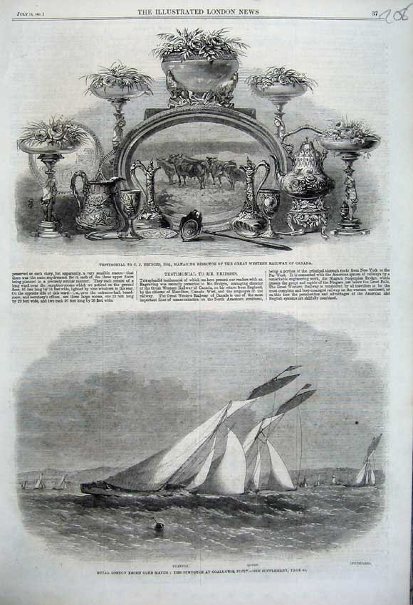 Print 1861 Yacht Match Phantom Queen Testimonial Railway 208N112 Old Original