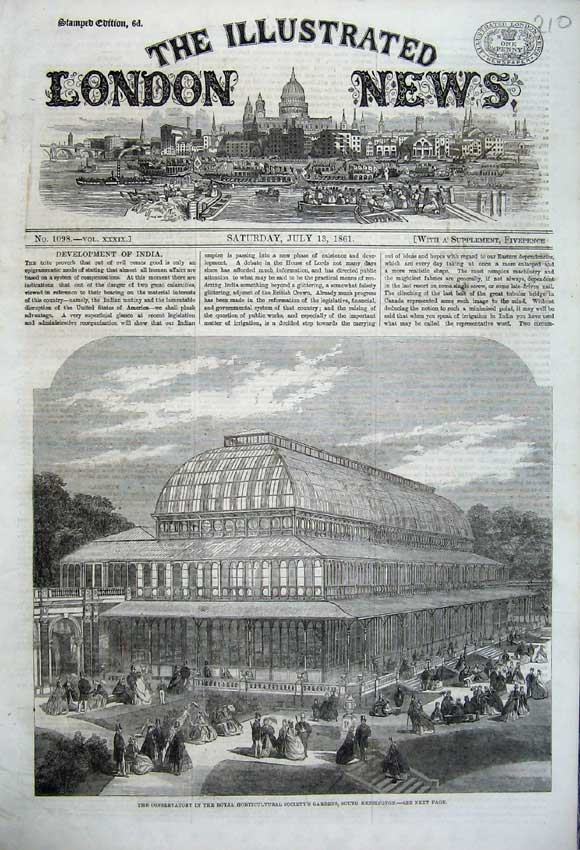 Print 1861 Conservatory Royal Horticultural Society Gardens 210N112 Old Original