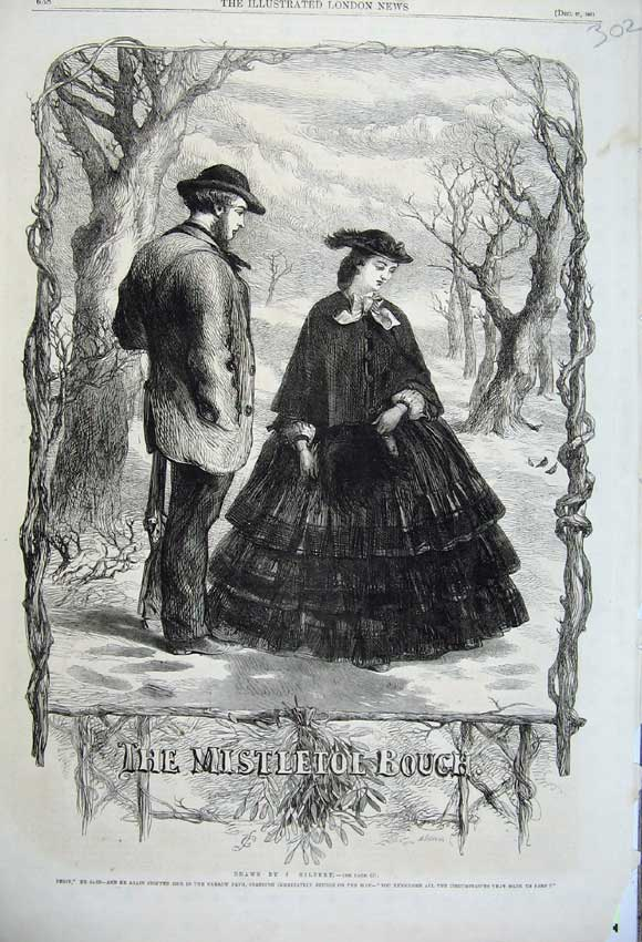Print 1861 Christmas Mistletoe Man Woman Romance Snow Scene 302N112 Old Original
