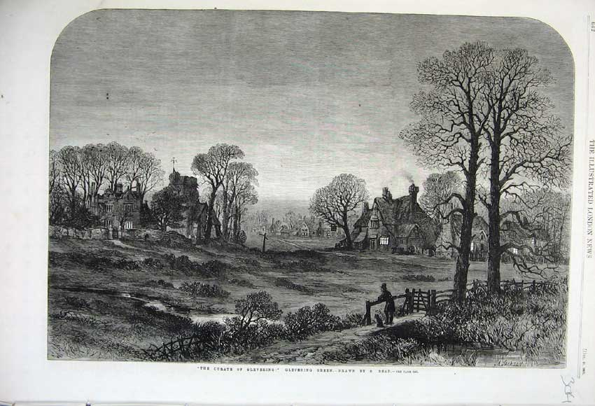 Print 1861 Curate Glevering Night Scene Church Country House 304N112 Old Original