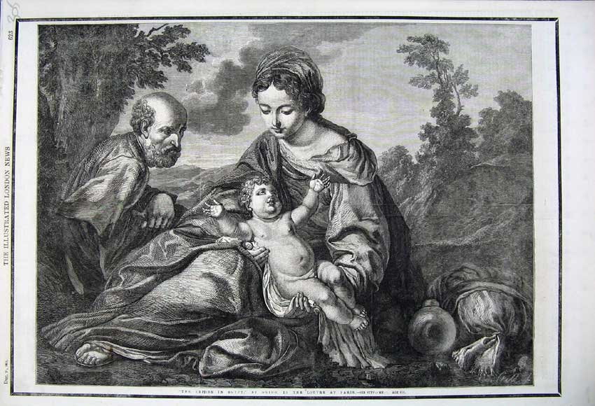 Print 1861 Repose Egypt Woman Man Baby Louvre Paris France 305N112 Old Original