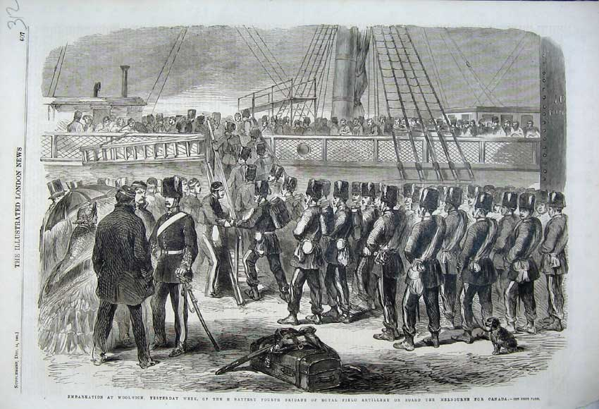 Print 1861 Woolwich Ship Royal Field Artillery Melbourne Ship 312N112 Old Original