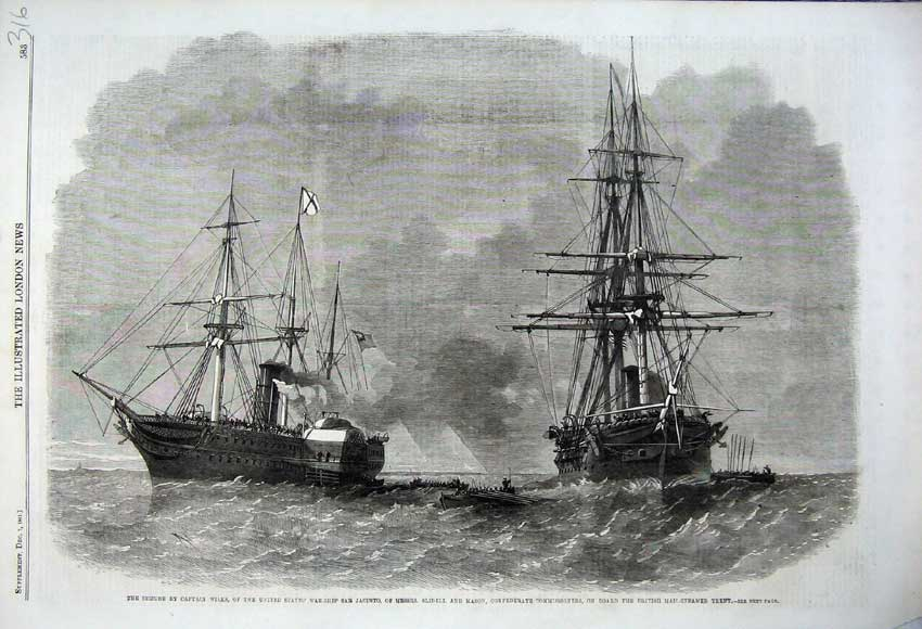 Print 1861 Captain Wilks War-Ship Jacinto Mason Mail-Steamer 316N112 Old Original