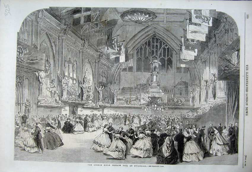 Print 1861 London Rifle Brigade Hall Guildhall Dancing Party 325N112 Old Original