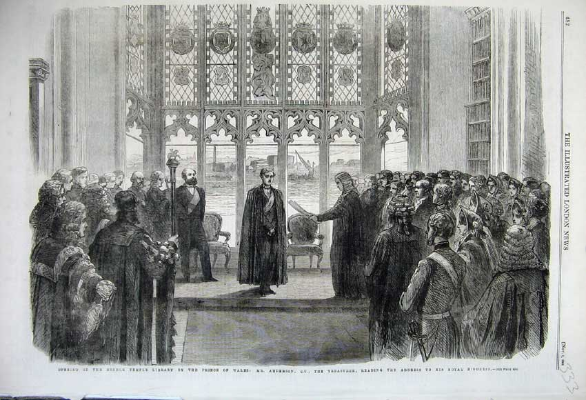 Print 1861 Middle Temple Library Prince Wales Anderson Men 333N112 Old Original