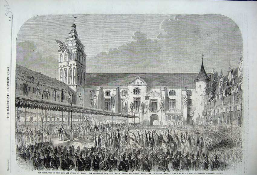Print 1861 Coronation Kin Prussia Castle Church Konigsberg 342N112 Old Original