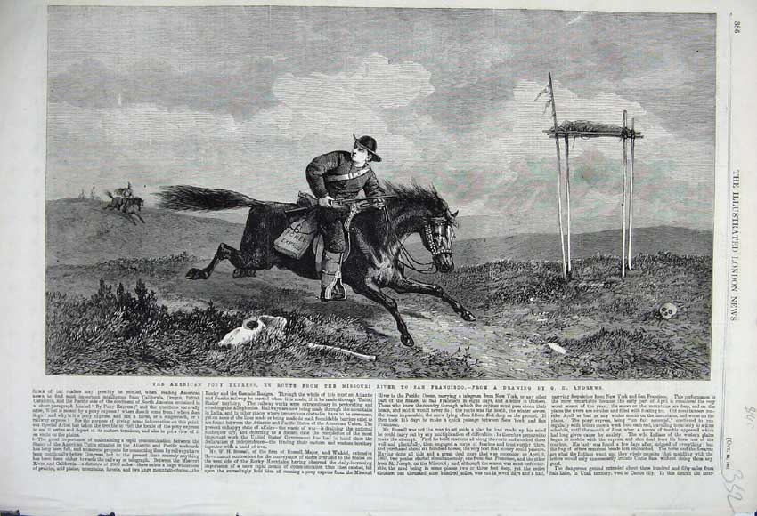 Print American Pony Express Man Horse San Fransisco Andrews 352N112 Old Original
