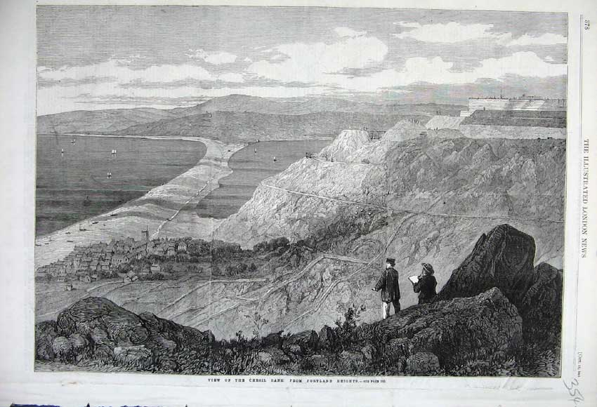 Print 1861 View Chesil Bank Portland Heights America Mountain 354N112 Old Original