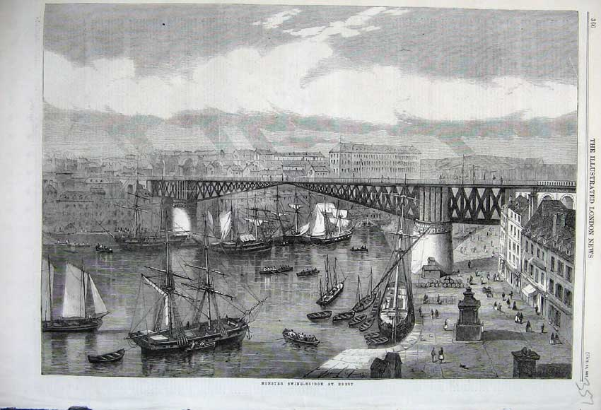 Print 1861 View Monster Swing Bridge Brest Sailing Ship River 357N112 Old Original