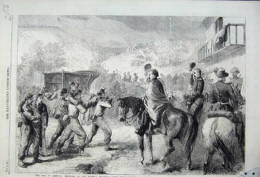 Print War America 1861 Federal Wounded Lewinsville Virginia 358N112 Old Original