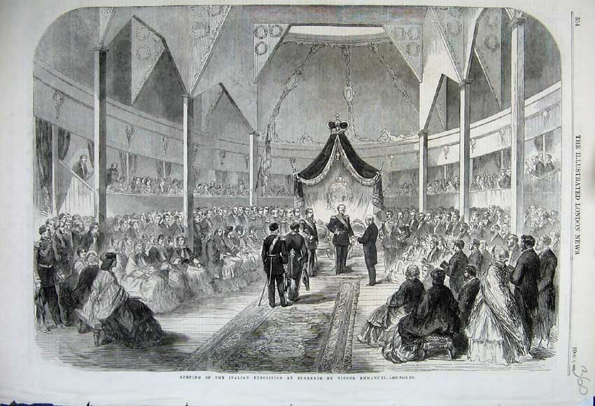 Print Opening Italian Exposition Florence Emmanuel Victor1861 360N112 Old Original