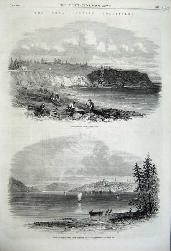 Print 1861 GWashing Nova Scotia Lunenburg Battery Point 361N112 Old Original