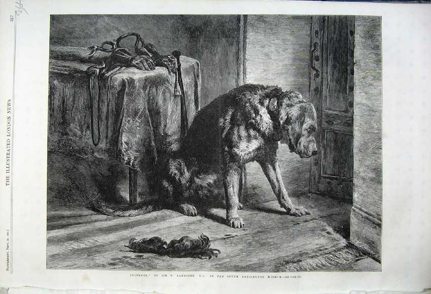 Print 1861 Suspense Dog Door Landseer Kensington Museum 364N112 Old Original