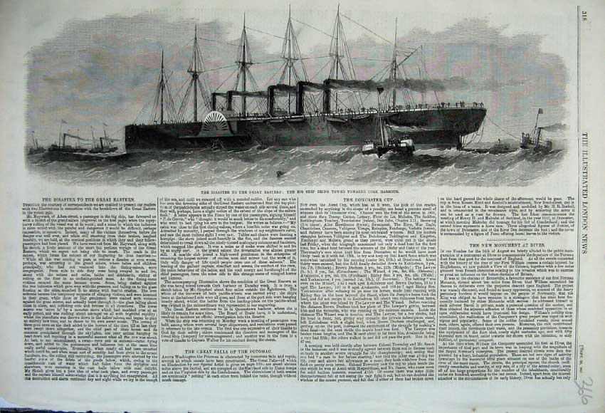 Print 1861 Disaster Great Eastern Big Ship Towed Cork Harbour 366N112 Old Original