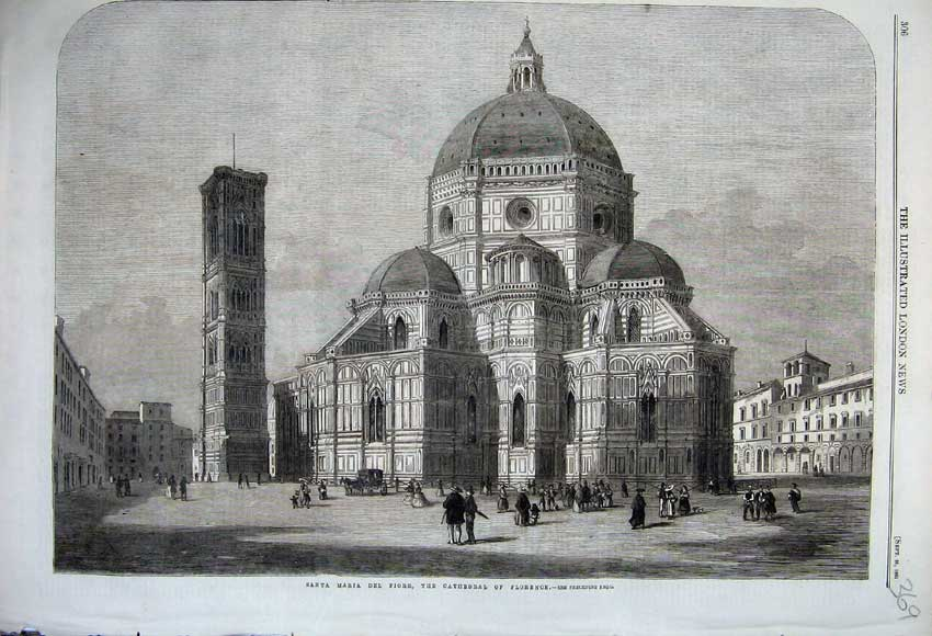 Print 1861 Santa Maria Del Foire Cathedral Florence Church 369N112 Old Original