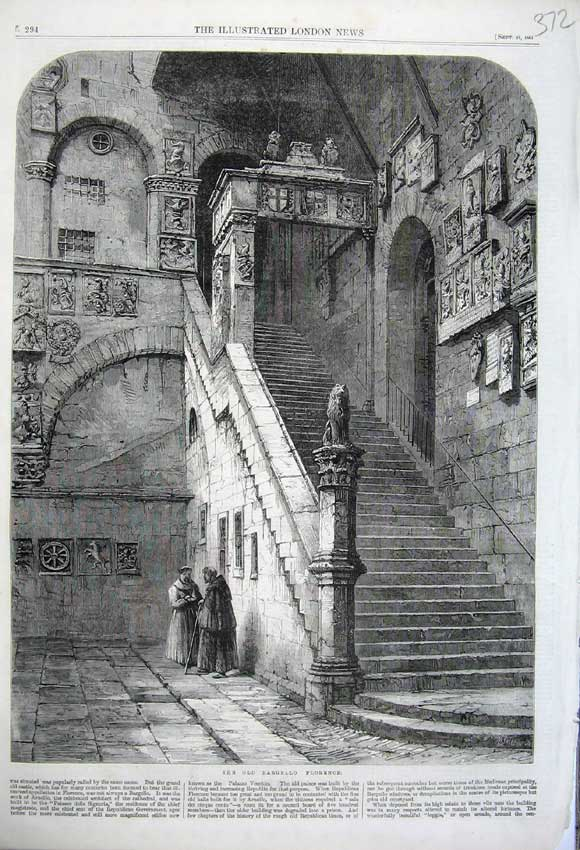 Print 1861 View Bargello Staircase Florence Monks Men 372N112 Old Original