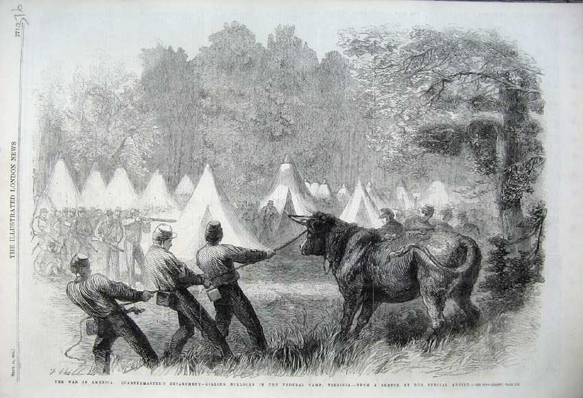 Print 1861 War America Killings Bullock Federal Camp Virginia 376N112 Old Original
