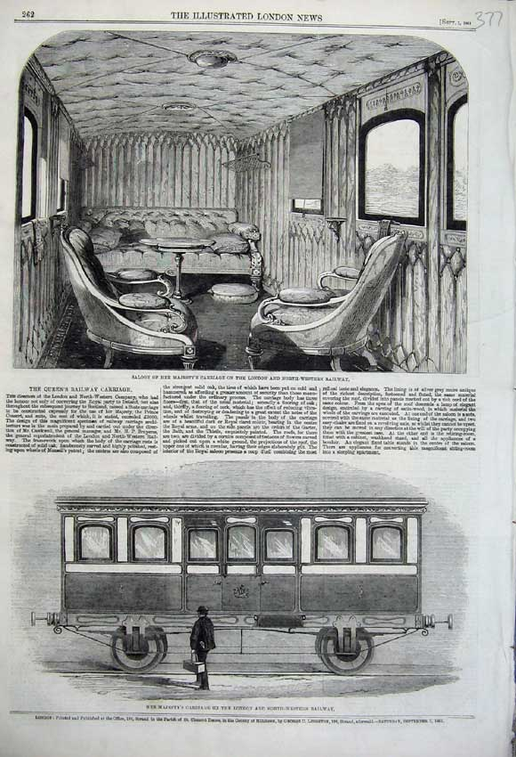 Print 1861 Queen Carriage Saloon London Western Railway Train 377N112 Old Original