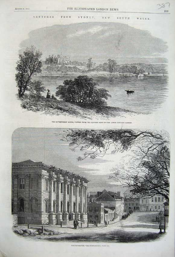 Print 1861 Sydney Australia Exchange Government House Garden 387N112 Old Original