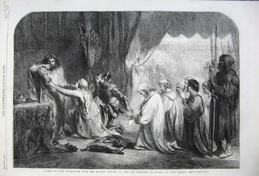 Print 1861 Queen Philippa Edward Burgesses Calais Gilbert 389N112 Old Original
