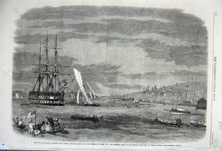 Print 1861 Regatta Halifax Harbour Nova Scotia Yacht Wales 392N112 Old Original