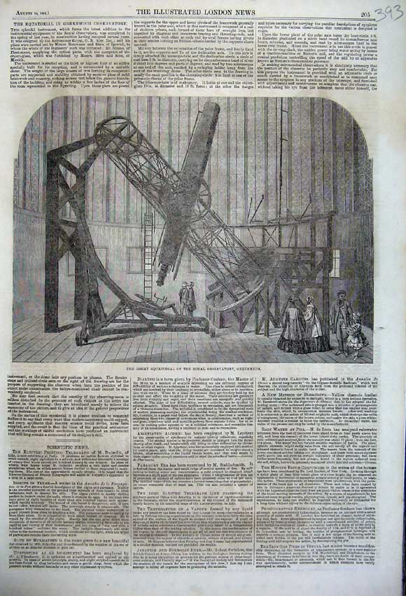Print 1861 Great Equatorial Royal Observatory Greenwich 393N112 Old Original